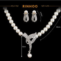 Fahion Wedding Prom Imitation Pearl & Crystal Necklace Earring Set Charms Photo