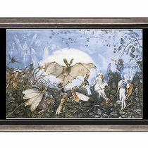 Fairies Attacking Bat Fantasy Art Belt Buckle Sturdy Metal Usa Made Photo