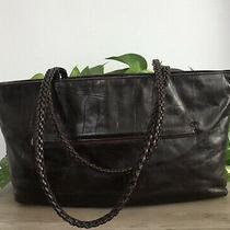 Falor Tote Shoulder Bag Handbag Dark Brown Croc Embossed Soft Italian Leather Photo