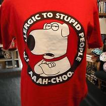 Family Guy Dog Brian Griffin i'm Allergic to Stupid People Tee Shirt Sz S Red  Photo