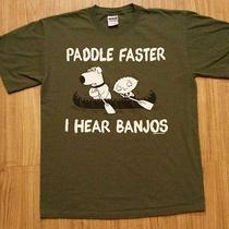 Family Guy Stewie & Brian Griffin Paddle Faster I Hear Banjos Parody T-Shirt M Photo