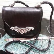 Famous Brighton Black Leather With Silver Plated Details Shoulder Handbag  Photo
