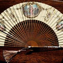 Fan Eventail Vintage  Wood Mother of Pearl Sticks Hand Painted Hand Fan Photo