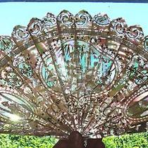 Fan Unique Antique French Music Mother  of Pearl Carved Stick Hand Fan  Photo