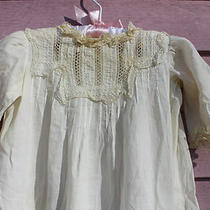 Fancy Antique 19th Century Girls White Cotton Dress Lace Satin Ribbon Photo