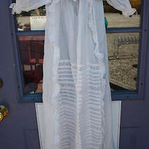 Fancy Antique 19th Century Girls White Cotton & Lace Dress  Photo