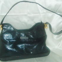 Fancy Black Leather Vintage Handbag Purse 4 Compartments Reptile Look W/brass Gc Photo