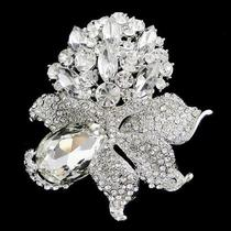 Fancy Bridal Flower Bouquet Brooch Pin Rhinestone Crystal Clear Pendant Photo