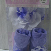 Fancy Flower Head-Wrap and Purple Booties With Flowers Size 0-12 Months Photo
