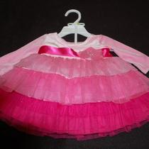 Fancy Girls Pink Layered Dress With Matching Panties Size 0-3 Months Nwt  Photo