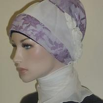 Fancy Hijab Scarf Bonnet Turban Bridal Party Wedding Jilbab Hejab White-Purple Photo