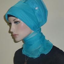 Fancy Hijab Scarf Bonnet Turban Bridal Party Wedding Jilbab Hejab Dodger Blue Photo