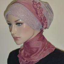 Fancy Hijab Scarf Bonnet Turban Cap Bridal Party Wedding Jilbab Hejab Mauve-Gray Photo