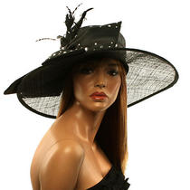 Fancy Kentucky Derby Floppy Crystals Feathers Big Ribbon Bow Church Hat Black Photo