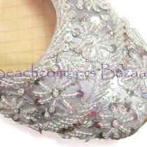 Fancy Khussa Womens Shoes Indian Wedding Sequin Bridal Victorian Sca Flats 7 Photo