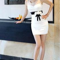 Fancy Korean Style Women Sexy Slim Waist White Flowers Mini Dress Fine-Looking Photo