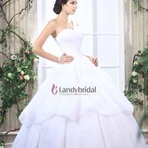 Fancy One Shoulder Ball Gown White Organza Floor Length Wedding Dress Custom New Photo