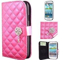 Fancy Pink Bling Flower Wallet Case for Samsung Galaxy S3 Pouch Purse Flip Cover Photo