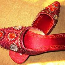 Fancy Red Khussa/ Mojri/sandals/shoes Ethnic Indian Pakistani--Three Women Sizes Photo