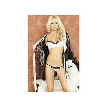 Fantasy Black Kimono Robe With Underwire Bra and G String Ss0069 Black Medium Photo