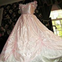 Fantasy Cinderella Pink Gunne Sax Satin Vtg Victorian Ball Gown Costume Dress Photo