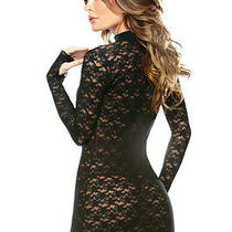 Fantasy Collared Lace Dress With G-String Set Intimates Women's Clothing Black Photo