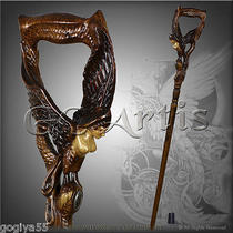 Fantasy Gamayun Paradise Bird Handcarved Crafted Solid Wood Walking Stick Cane D Photo