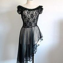 Fantasy Lingerie Black Stretch Lace Bodice High Low Skirt Nylon Nightgown Photo