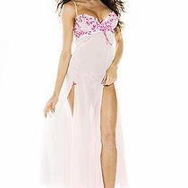 Fantasy Lingerie-Delicate Angels-Pink Long Gown G-String Set-Medium Photo