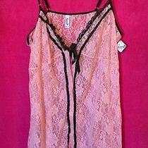 Fantasy Lingerie Nwt Plus Size 3x / 4x Pink and Black Babydoll Teddy Lace Sheer Photo