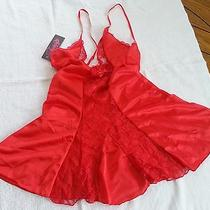 Fantasy Lingerie-Red Panel Chemise and G-String Set-Medium Photo