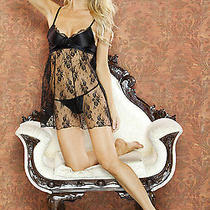 Fantasy Lingerie-Temptress-Black Lace Babydoll and G-String Set-Medium Photo