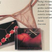 Fantasy Lingerie X Strings Sexy Gold With Red Diamonds G-String Thong Panties Photo