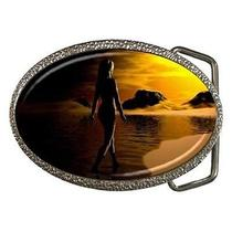 Fantasy Woman on Ocean Beach at Sunset Belt Buckle Photo
