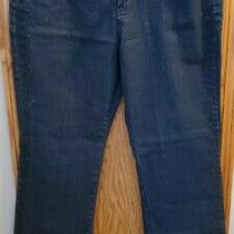 Fantasy Womens Average Flat Front Dark Wash Straight Blue Denim Jeans Size 12 Photo