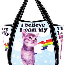 Far Nine Flying Cat Rainbow Kitten Alternative Shoulder Handbag Purse Vegan Bag Photo