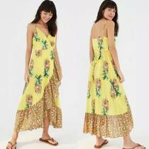 Farm Rio Anthropologie Pineapple Yellow Tank Wrap Dress Xs Nwt 185 X53-57 Photo