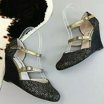 Farylrobin Anthropologie Wedge Size 6.5 Black Woven Gold Strappy Heels Shoes  Photo