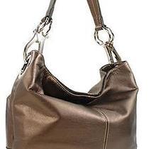 Fashion Accessories Trendy Handbag Purse Ring Accent Medium Hobo Metallic Brown Photo
