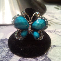 Fashion Adjustable Aqua Butterfly Ring Photo