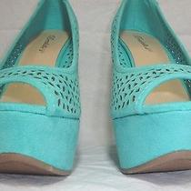 Fashion Blush Pink or Mint Green Suede Peep Toe Wedge High Heel Sandals Shoes  Photo