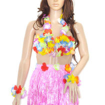 Fashion Children Grass Skirt Flower Bra Leis Hawaiian Set Fancy Dress 6pcs/set Photo