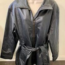Fashion Elements Black Genuine Leather Belted Jacket With Zip Front Men Size L Photo