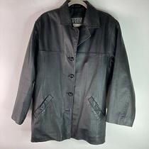 Fashion Elements Leather Jacket Men Size L Black Button Up Coat Photo