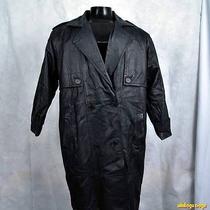 Fashion Elements Long Leather Trench Coat Womens Size M Medium Black Insulated Photo