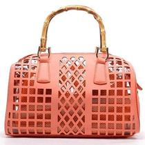Fashion Hand Bag 2 in 1 Micro Cut Clear Pvc Small Mesh Gold Tone Peach Orange Photo