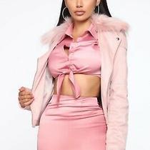 Fashion Nova Living Lavishly Moto Jacket Blush (Size Xs) Photo