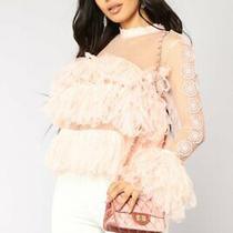 Fashion Nova Top Blouse Blush Mock Neck Mesh Ruffle Trim Long Sleeve Size S Photo