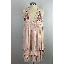 Fashion on Earth Blush Pink Halter Dress Tiered M Rayon Polyester Lined Photo