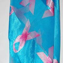 Fashion Scarf Breast Cancer Pink Ribbons Aqua Blue Polyester New Photo